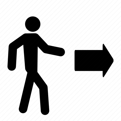 arrow, exit, leave, move, person, sign, walk icon