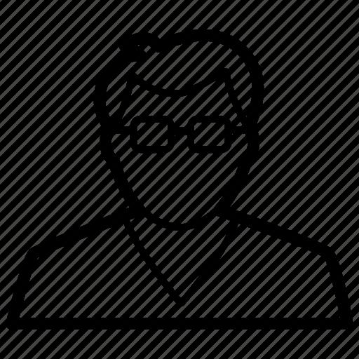 boy, clever, geek, glasses, nerd, profile, smart icon