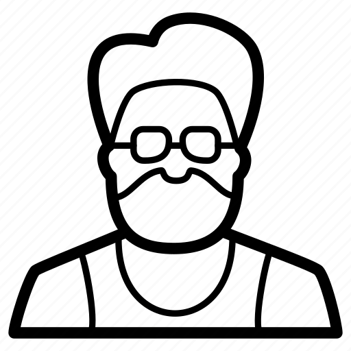 avatar, beard, geek, glasses, hipster, male, man icon