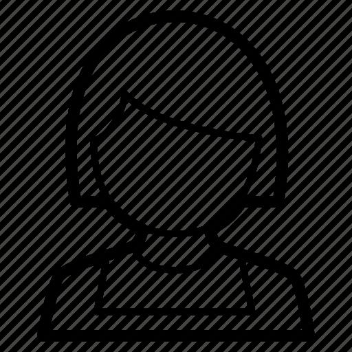 child, female, girl, little, person, profile, school icon
