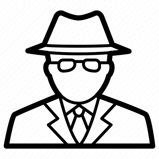 agent, detective, inspector, man, profile, secret, spy icon