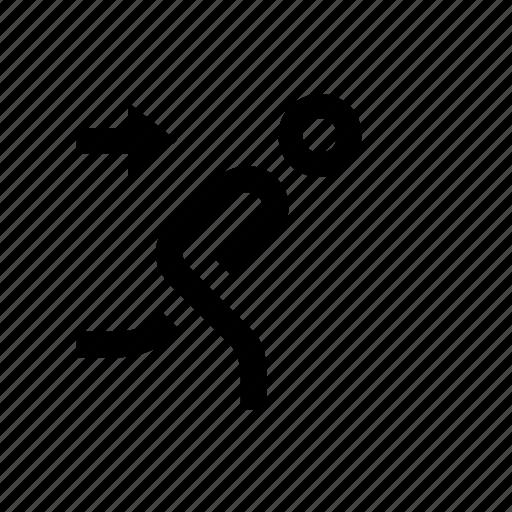 escape, person, right, running icon