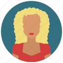 avatar, blond, curly, haired, people, user, woman