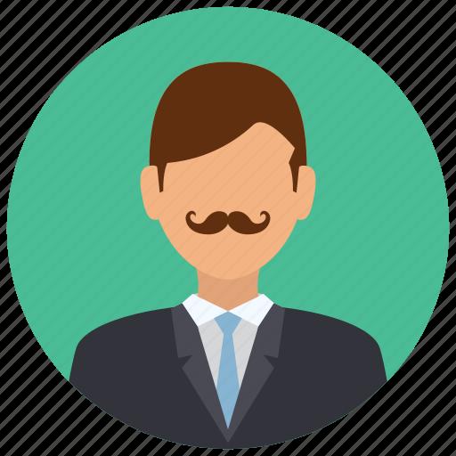 avatar, formal, man, mustache, people, user icon