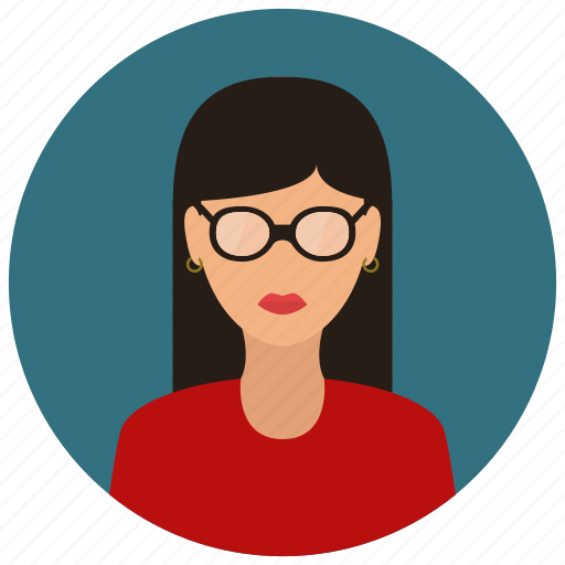 avatar, nerd, people, user, woman icon