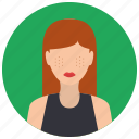 avatar, haired, people, red, user, woman icon