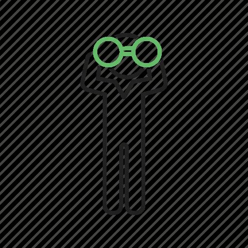 binocular, binoculars, close, man, sky, telescope, using icon