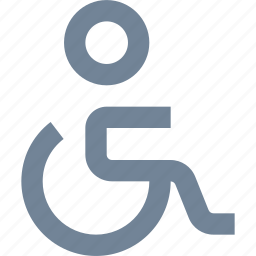 disabled, handicap, illness, line, medical, people, wheelchair icon
