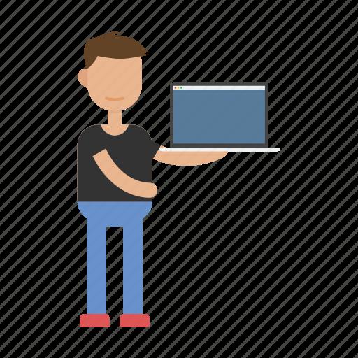 laptop, man, people, pitching, presentation, start-up icon