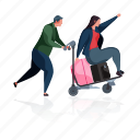 relationships, travel, couple, trolley, suitcase, baggage, luggage icon