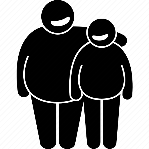 fat, father, man, obese, obesity, overweight, son icon