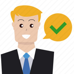 approve, businessman, check out, good, person, support, user icon