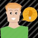 bright, idea, lamp, lightbulb, person, shine, user