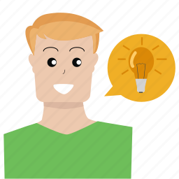 bright, idea, lamp, lightbulb, person, shine, user icon