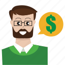 business, businessman, customer service, money, speech, support, user icon