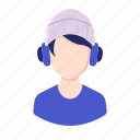 avatar, beanie, boy, headphone, man, millennial, people