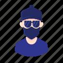 bandana, man, glasses, boy, millennial, people, hat