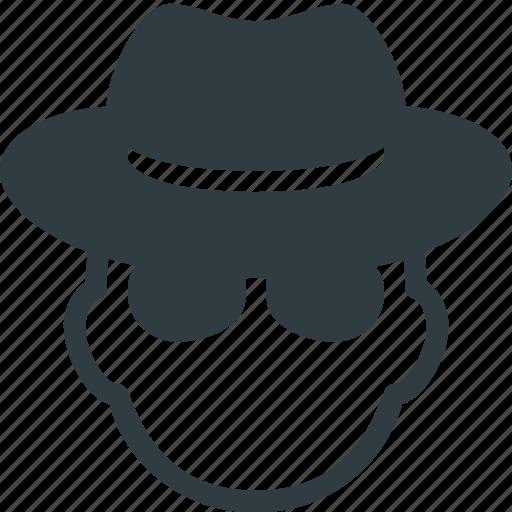 avatar, glasses, hat, head, hide, incognito, people icon