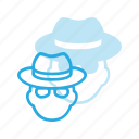 avatar, glasses, hat, head, hide, incognito, people icon