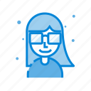 avatar, female, glasses, hair, man, user icon