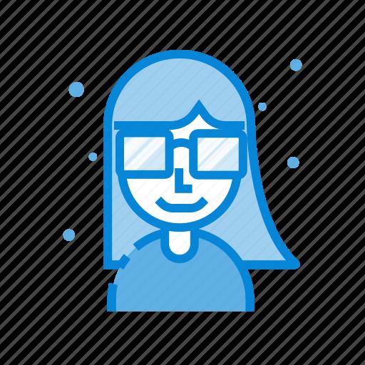 avatar, female, glasses, hair, man, user icon