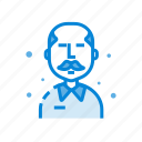 avatar, character, male, mustache, old, person icon