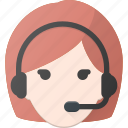 avatar, dispatcher, female, head, people icon