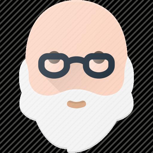 avatar, bald, beard, glasses, man, old, people icon