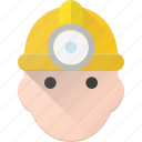 avatar, head, miner, people icon