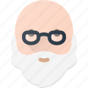 avatar, bald, beard, glasses, man, old, people icon