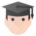 avatar, graduate, graduation, hat, head, people, stydent