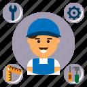 construction, customer, mechanic, repair, service, support, technician icon