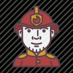 account, avatar, fire, firefighter, fireman, profession, profile icon