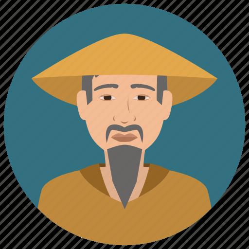 asian, avatar, culture, elderly, man, people, user icon