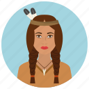 american, avatar, culture, native, people, user, woman icon