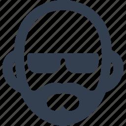 avatar, beard, bold, human, man, person, sunglasses, user icon