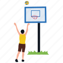 basketball, basketball court, basketball equipments, goal basket, patterned ball icon