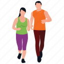couple jogging, fitness exercise, healthy exercise, jogging, physical exercise, running icon