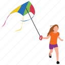 childhood activities, kid playing, kite flying, outdoor fun, park amusement icon