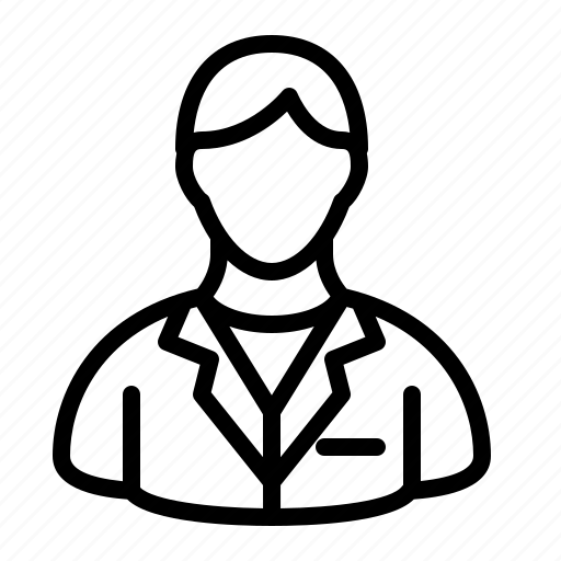 coat, experiment, ios, lab, male, person, scientist icon