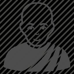 bald man, beliefs, buddhist, church, religion, religious, thai monk icon