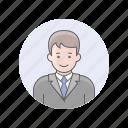 avatars, businessman, guy, man, white man icon