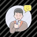 avatars, guy, man, presenter, reporter icon