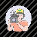avatars, camcorder, guy, man, videographer icon