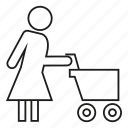 cart, people, shoping, woman icon
