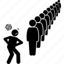behind, bored, last, line, long, people, queue icon