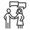 acquaintance, conversation, handshake icon