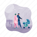 relationships, parents, mother, father, stroller icon