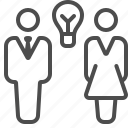 brainstorming, businessman, light bulb, man, people, thinking, woman icon