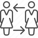 arrow, businesswoman, employment, girl, people, teamwork, woman icon